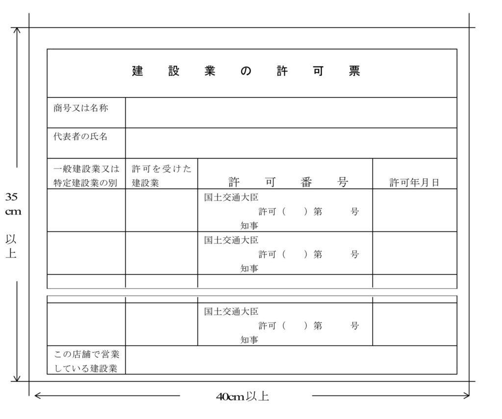 営業所に掲示する建設業許可票のサンプル