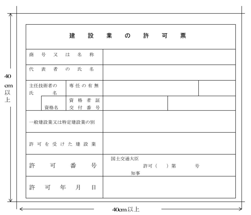 工事現場に掲示する建設業許可票のサンプル